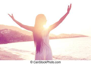 spiaggia, ragazza, camminare, libertà, tramonto, concetto, bello
