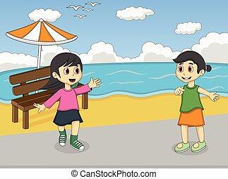 spiaggia, ragazze, cartone animato, gioco