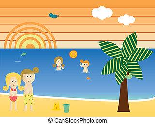 spiaggia, retro, famiglia