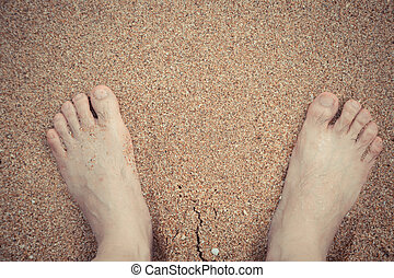 spiaggia, rilassante, piedi, sabbia, bagnato, tuo