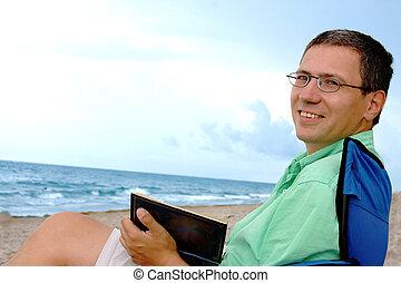 spiaggia, rilassante, uomo
