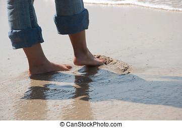 spiaggia, rilassare