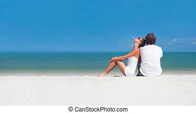 spiaggia., romantico, luna miele, vacanza, tropicale, amanti