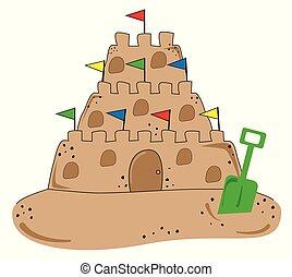 spiaggia sabbia, castello