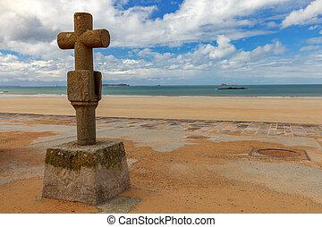 spiaggia sabbiosa, basso, saint-malo., tide.