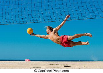 spiaggia, saltare, -, pallavolo, uomo