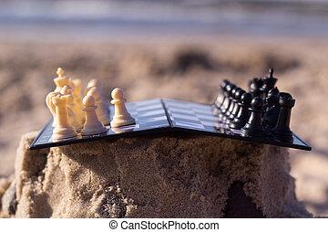 spiaggia, scacchi