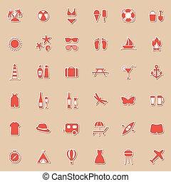spiaggia, set, vettore, icone