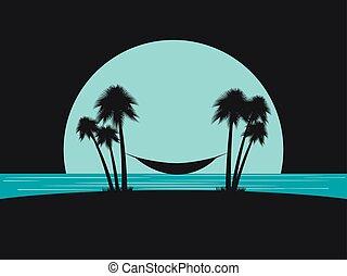 spiaggia., silhouette, amaca, palme, vacation., illustrazione, vettore, disegno, sagoma, tourism., spiaggia, ozio
