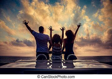 spiaggia, silhouette, rilassante, famiglia