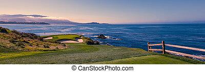 spiaggia, stati uniti, corso, monterey, ciottolo, california, golf