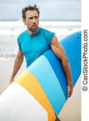 spiaggia, surfboard, uomo