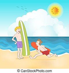 spiaggia, surfers
