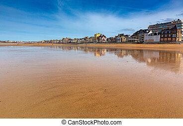 spiaggia, tide., saint-malo., sabbioso, basso