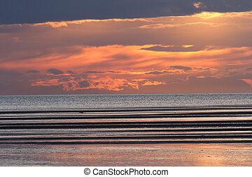 spiaggia, tramonto