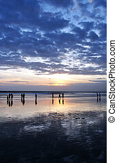 spiaggia, tramonto, bali