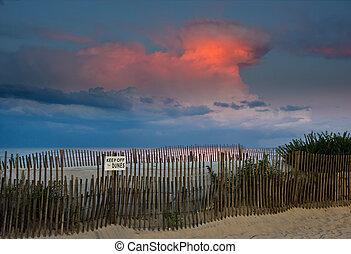 spiaggia, tramonto, e, thunderhead