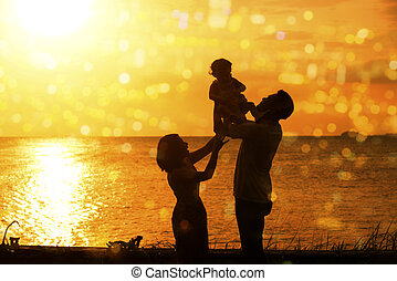 spiaggia, tramonto, esterno, silhouette, famiglia