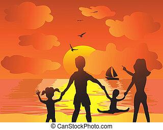 spiaggia tramonto, famiglia