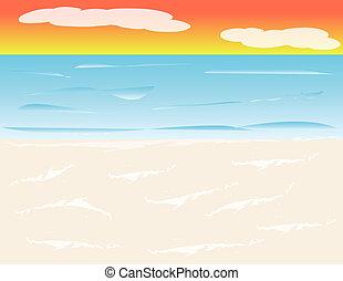 spiaggia, tramonto, fondo