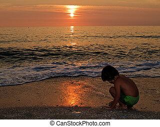 spiaggia, tramonto, gioco