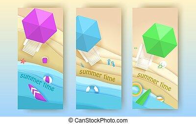 spiaggia tropicale, bandiere, set, in, carta, arte, style., vettore, vista superiore, carta, taglio, illustration., vacanza estate, concetto, manifesto, template., mestiere, origami.