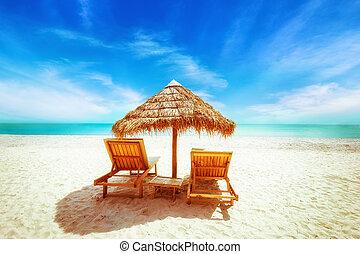 spiaggia tropicale, con, thatch, ombrello, e, sedie, per,...