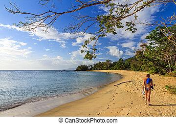 spiaggia tropicale, donna