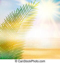 spiaggia tropicale, estate, template.