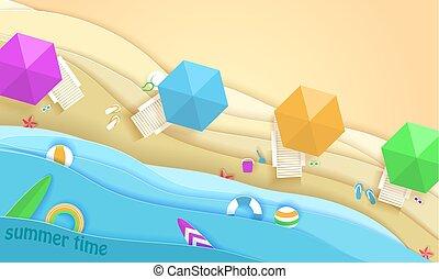spiaggia tropicale, in, carta, arte, style., vettore, vista superiore, carta, taglio, illustration., vacanza estate, concetto, manifesto, template., mestiere, origami.