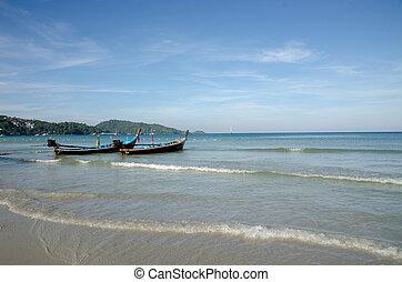 spiaggia tropicale, pulito, barca