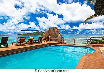 spiaggia tropicale, seychelles, -, stagno