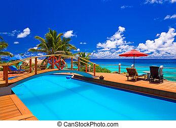 spiaggia tropicale, stagno