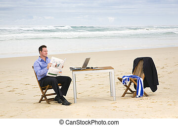spiaggia, ufficio, uomo affari