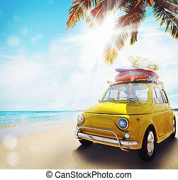 spiaggia., vecchio, inizio, automobile, vacanza, interpretazione, estate, 3d