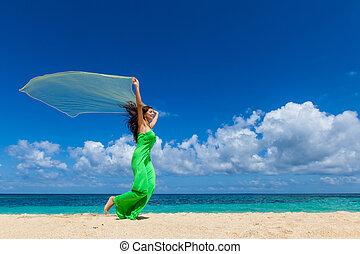 spiaggia, vestire, donna, corsa