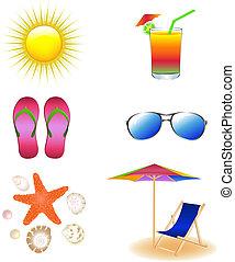 spiaggia, vettore, set