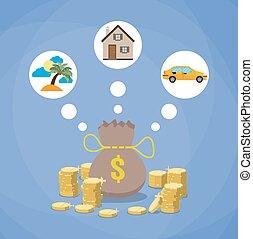 spianare, investimento, concetto, futuro, risparmi