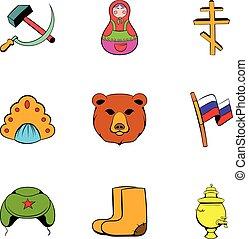 Spica icons set, cartoon style