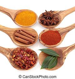 Spice and Herb Seasoning - Bay leaf herb, turmeric, chili ...