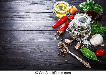 Spice and herbs still life of seasoning pepper