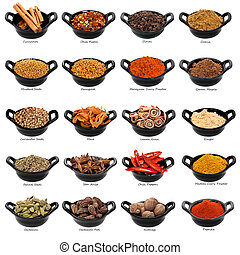 Lots of spices in small black dishes, with names beneath. XXXL file.