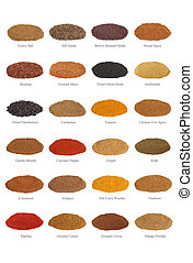 Large spice selection with titles, isolated over white background.