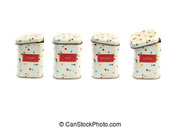 spice jars isolated on white background