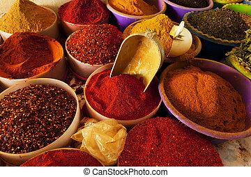 Spice market - Beautiful vivid oriental market with various...