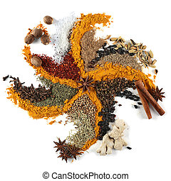 Spice mix background closeup on white