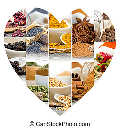 Spice Mix - Photo of colorful spice mix with heart shape
