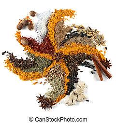 Spice mix background closeup on white