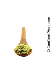 spice powder on wood spoon isolated in white background