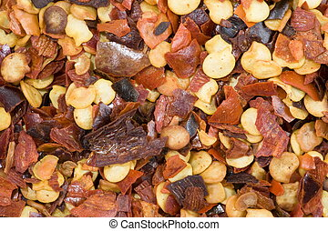 Spice - Red Pepper Flakes Abstract Background .